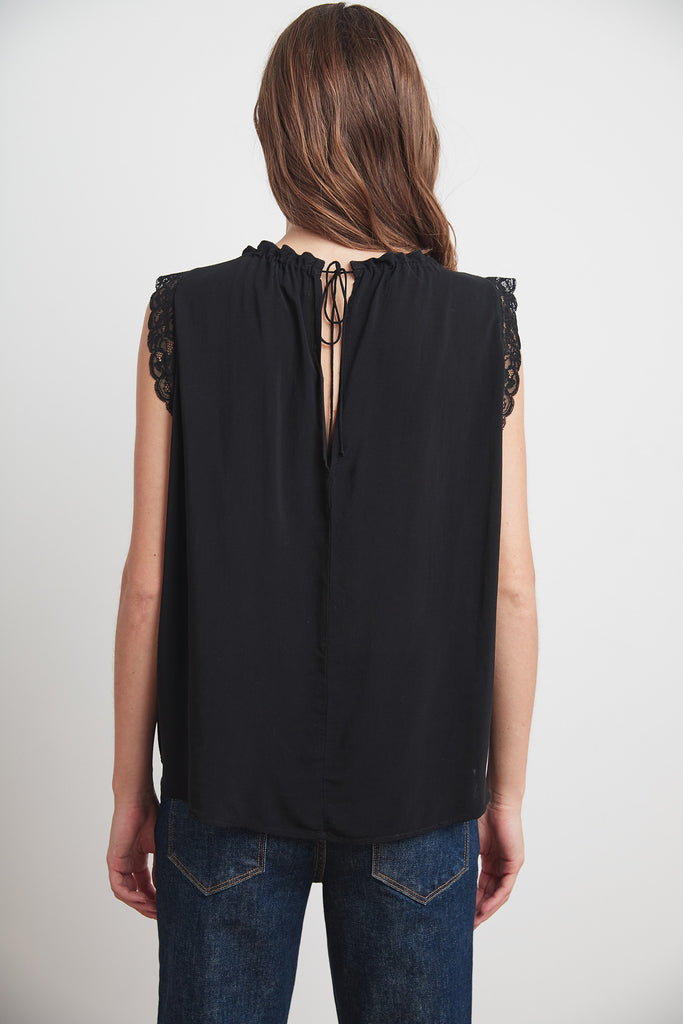 ELORA RAYON CHALLIS LACE BLOUSE IN BLACK