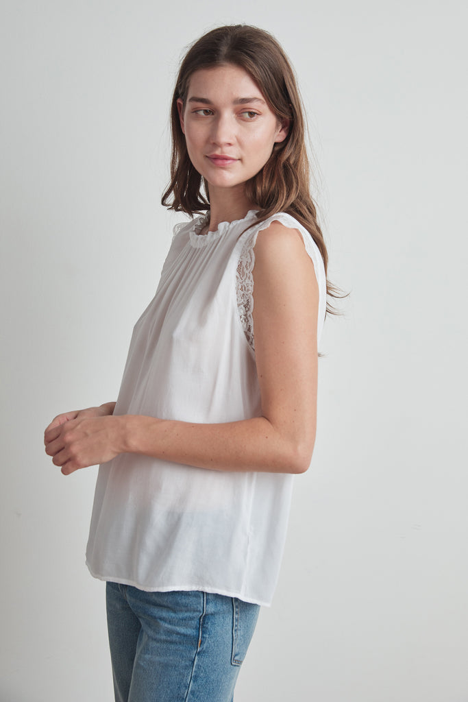 ELORA RAYON CHALLIS LACE BLOUSE IN WHITE