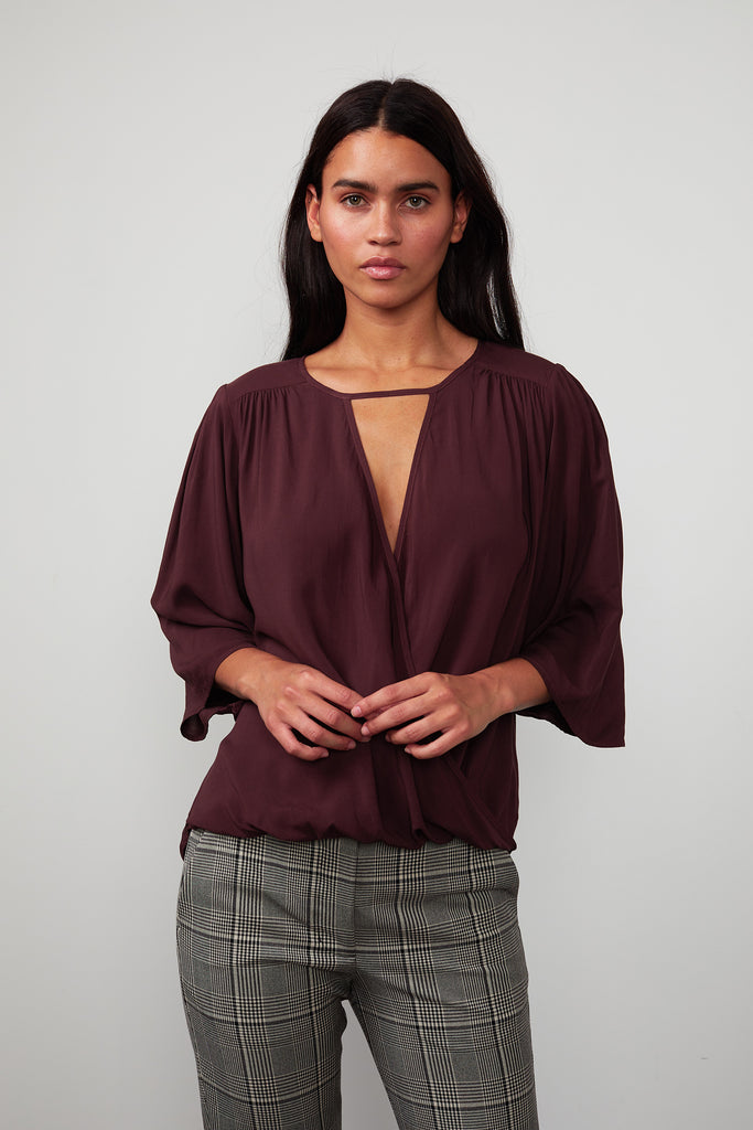 IDA RAYON CHALLIS CROSSOVER BLOUSE IN RUBIA