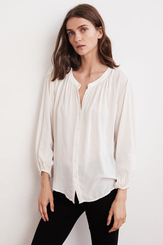 LEAH RAYON CHALLIS BUTTON UP TOP IN MILK