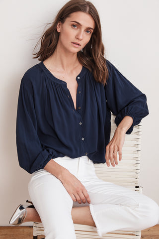 LEAH RAYON CHALLIS BUTTON UP TOP IN POSTMAN