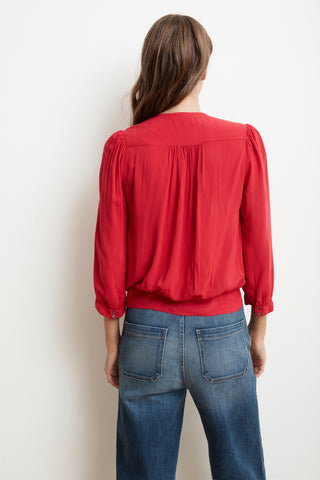 LOTTIE RAYON CHALLIS WRAP BLOUSE IN CRIMSON