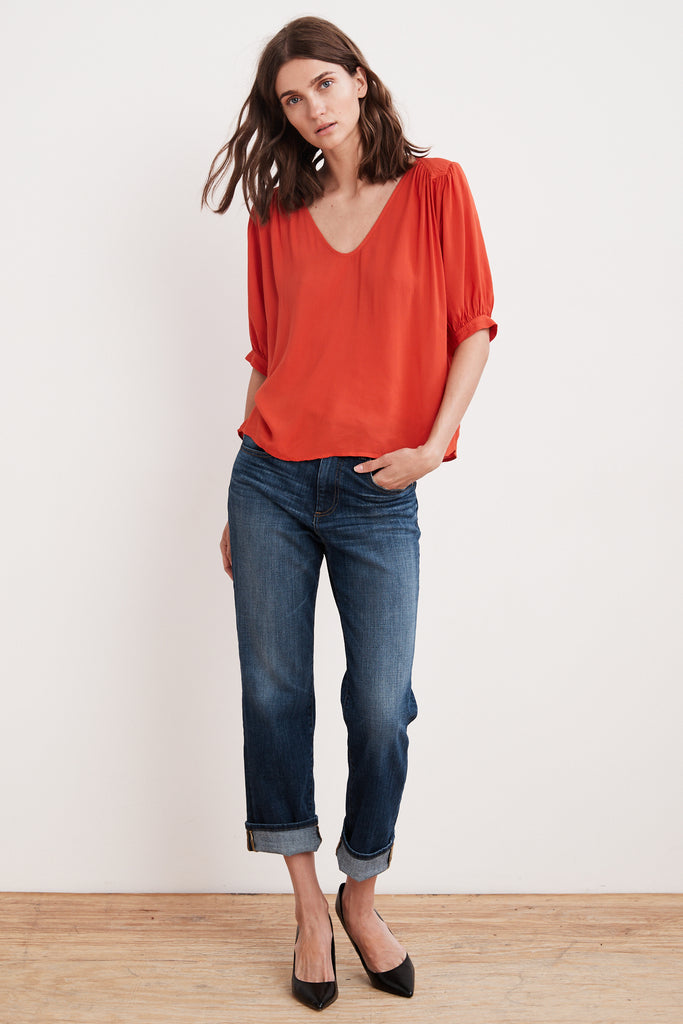 MARISE RAYON CHALLIS SCOOP NECK TOP IN RIO