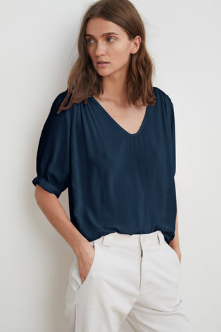 MARISE RAYON CHALLIS SCOOP NECK TOP IN POSTMAN