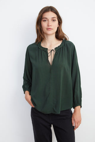 MARTY RAYON CHALLIS 4 SLEEVE BLOUSE IN ARMY