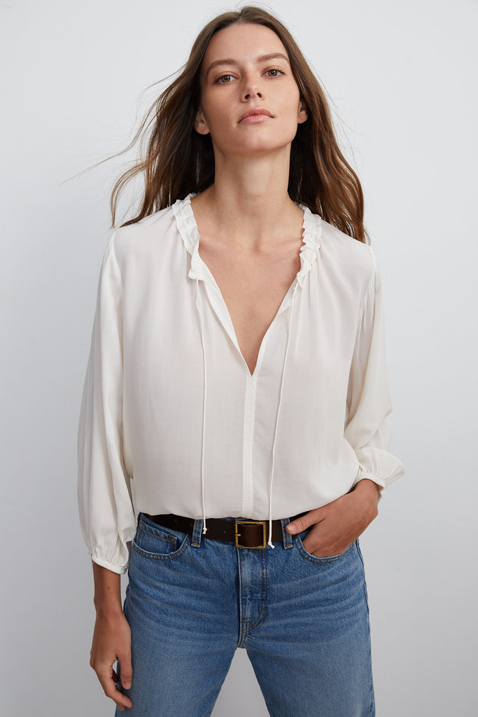 MARTY RAYON CHALLIS 4 SLEEVE BLOUSE IN WINTER