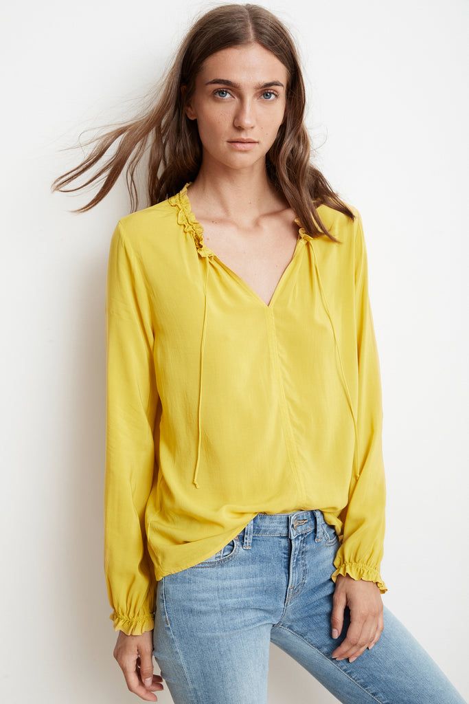 SAMANTHA RAYON CHALLIS PEASANT TIE TOP IN CANARY