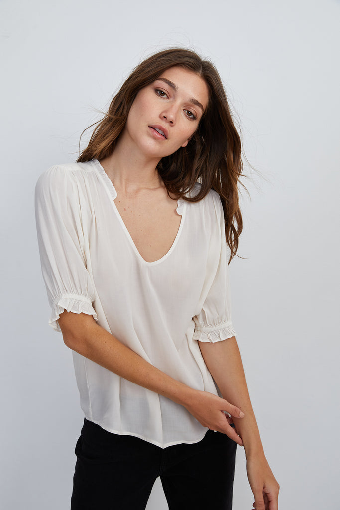 TRIXIE RUFFLED BLOUSE IN WINTER