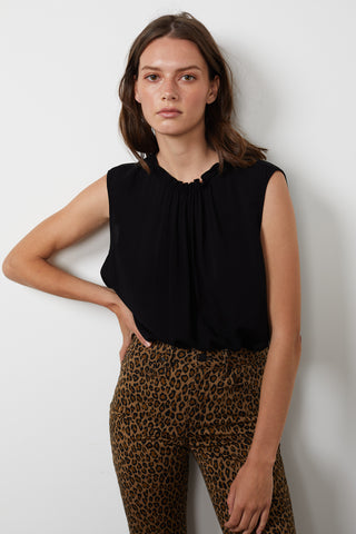 WENNA RAYON CHALLIS SLEEVELESS BLOUSE IN BLACK