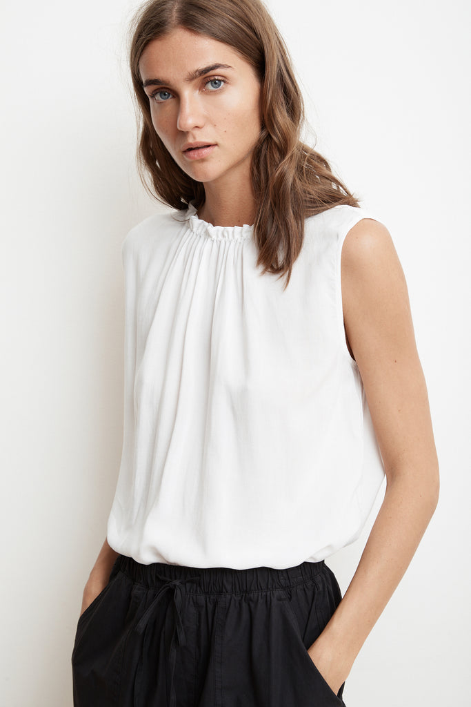 WENNA RAYON CHALLIS SLEEVELESS HIGH NECK BLOUSE IN WHITE