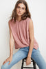 WENNA RAYON CHALLIS SLEEVELESS HIGH NECK BLOUSE IN ROSES