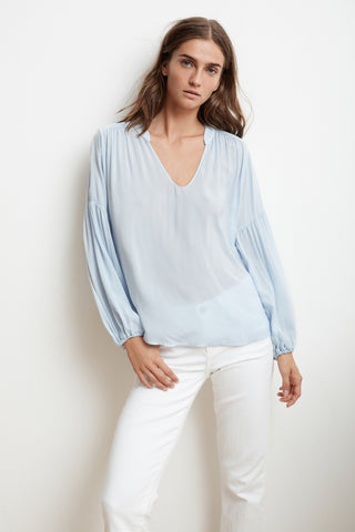 YULIA RAYON CHALLIS PEASANT SLEEVE BLOUSE IN BILLOW