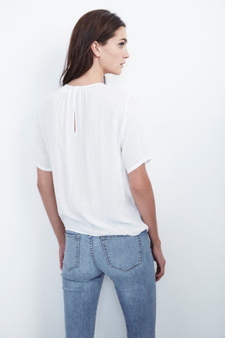 ALISS WRAP FRONT CHALLIS TOP IN WHITE
