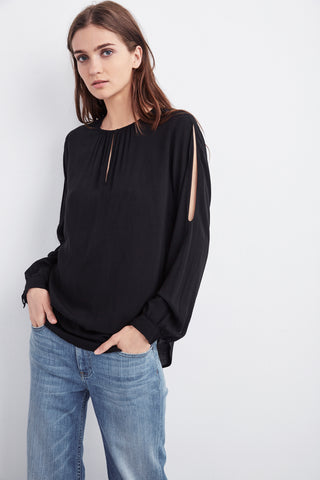 GENE SLEEVE CUT OUT CHALLIS TOP IN BLACK