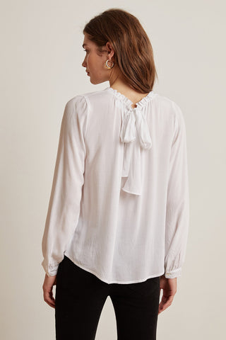 GINGER RAYON CHALLIS TOP IN WHITE
