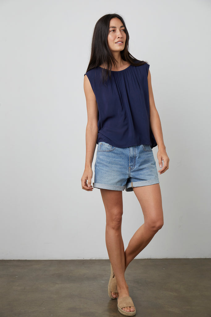 JADE CAP SLEEVE BLOUSE IN POSTMAN