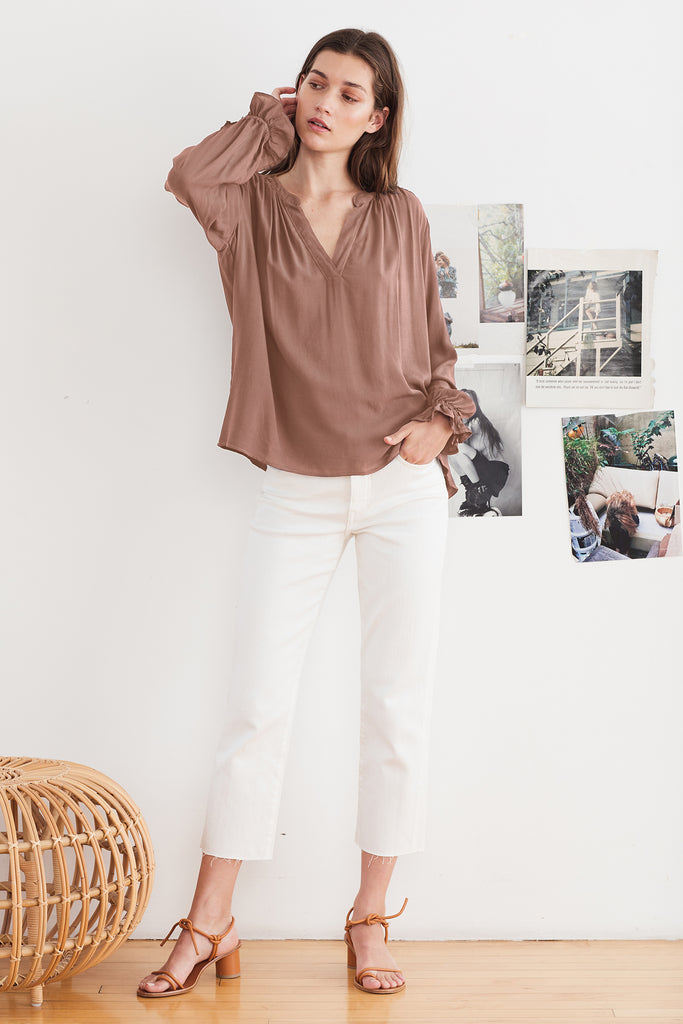 MARLENA RAYON CHALLIS V-NECK BLOUSE IN ACORN