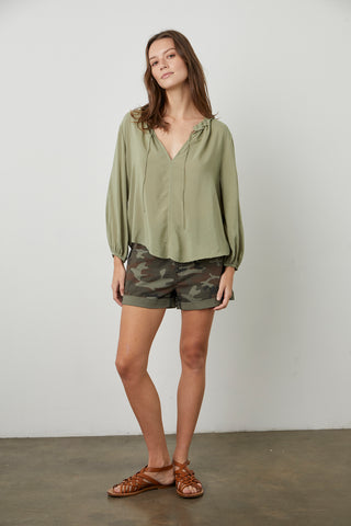 MARTY RAYON CHALLIS 4 SLEEVE BLOUSE IN BRANCH