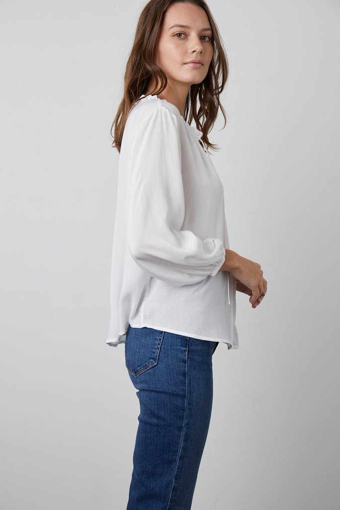 MARTY RAYON CHALLIS 4 SLEEVE BLOUSE IN WHITE