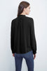 PILA LONG SLEEVE RUFFLE CHALLIS BLOUSE IN BLACK