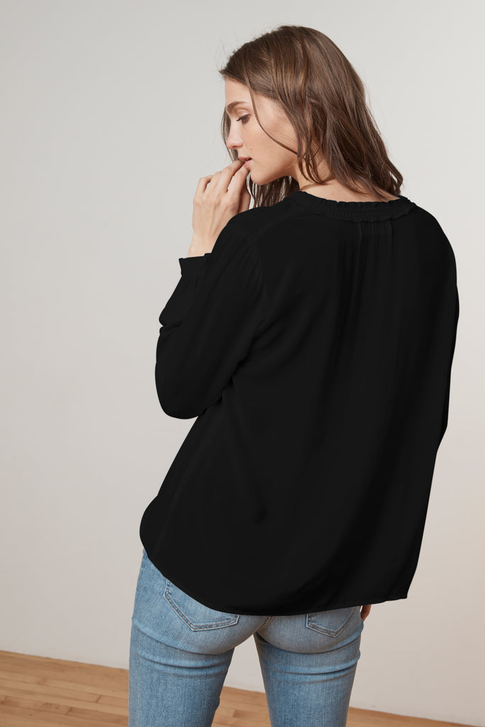 SAMANTHA RAYON CHALLIS PEASANT TIE TOP IN BLACK