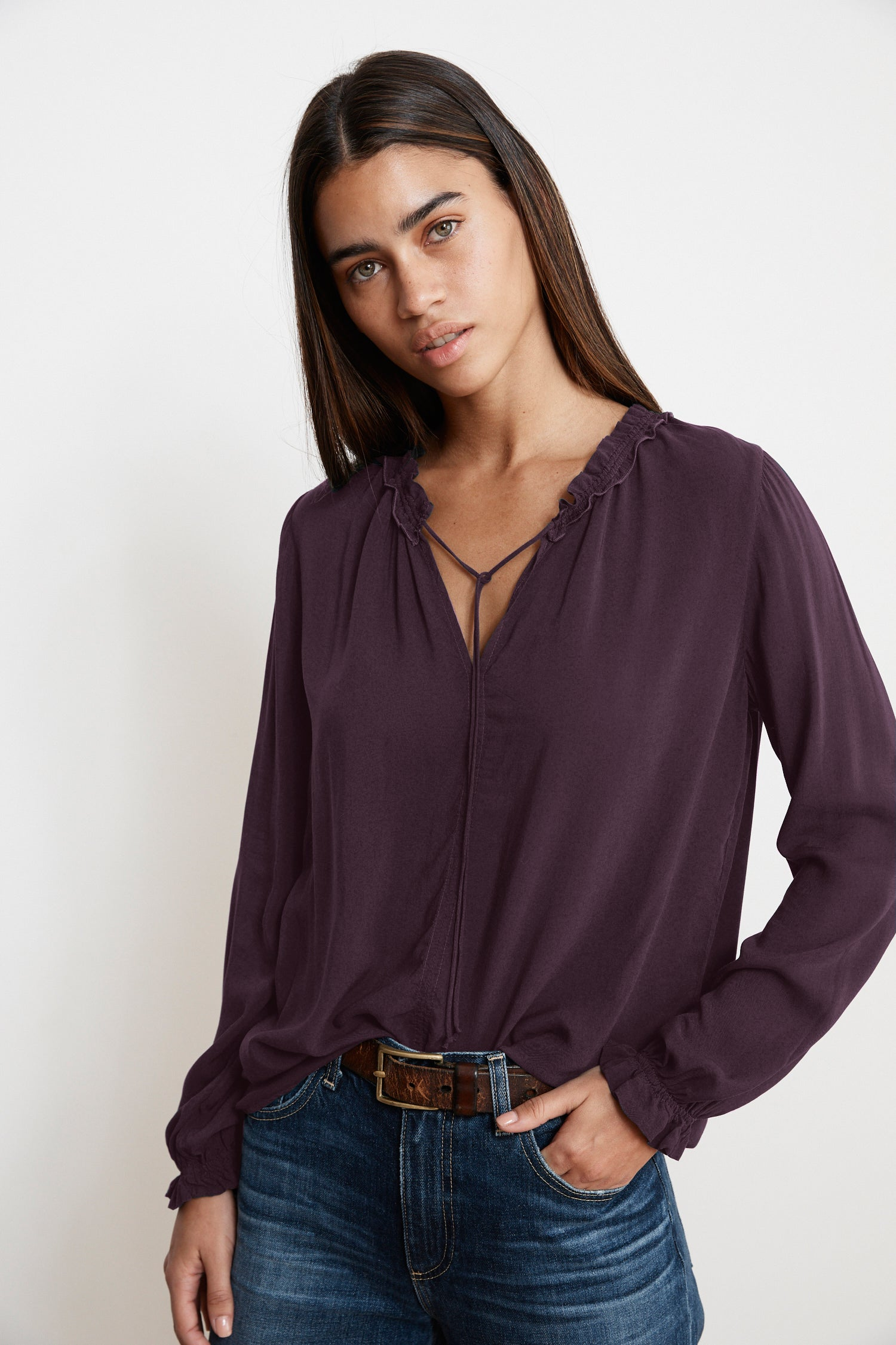 SAMANTHA RAYON CHALLIS PEASANT TIE TOP IN WINE