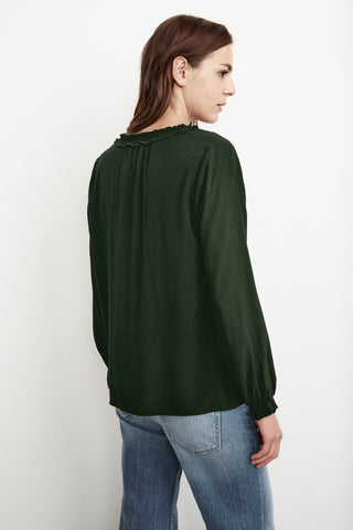 SAMANTHA RAYON CHALLIS PEASANT TIE TOP IN FOREST