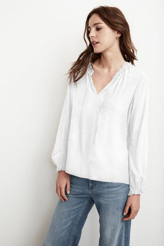 SAMANTHA RAYON CHALLIS PEASANT TIE TOP IN WHITE