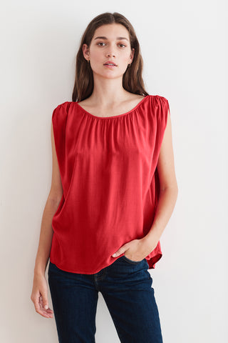 SASCHA RAYON CHALLIS SLEEVELESS BLOUSE IN FRUITY