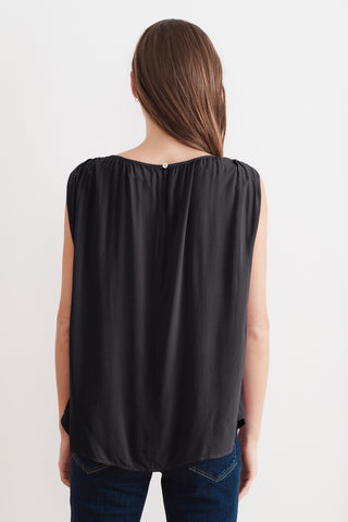 SASCHA RAYON CHALLIS SLEEVELESS BLOUSE IN BLACK