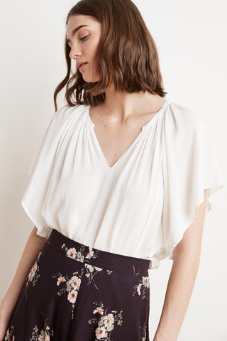 TINA FLUTTER SLEEVE CHALLIS TOP IN FROST