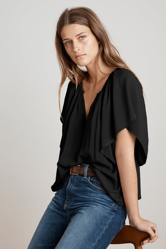 TINA FLUTTER SLEEVE CHALLIS TOP IN BLACK