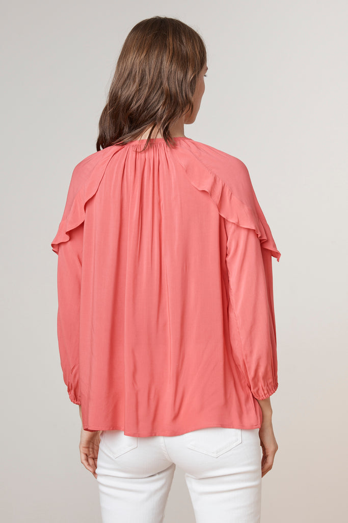 TRISH SHOULDER RUFFLE CHALLIS TOP IN CONFECTION
