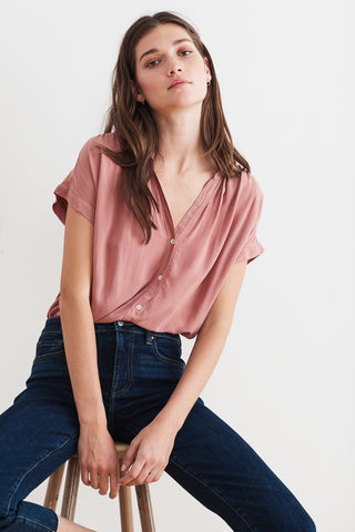 TRISHA RAYON CHALLIS BUTTON UP BLOUSE IN ACORN
