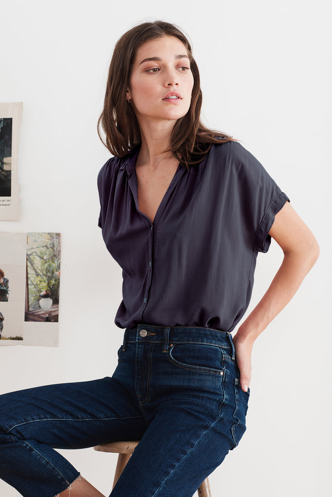TRISHA RAYON CHALLIS BUTTON UP BLOUSE IN PLUM