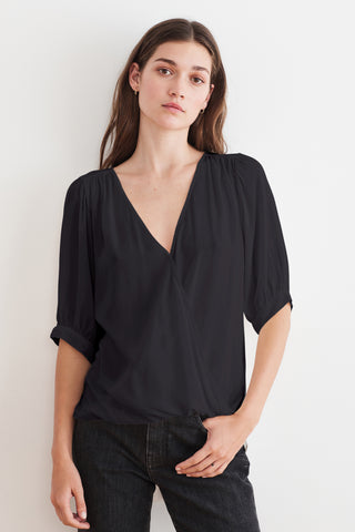 WILLOW RAYON CHALLIS BLOUSE IN BLACK