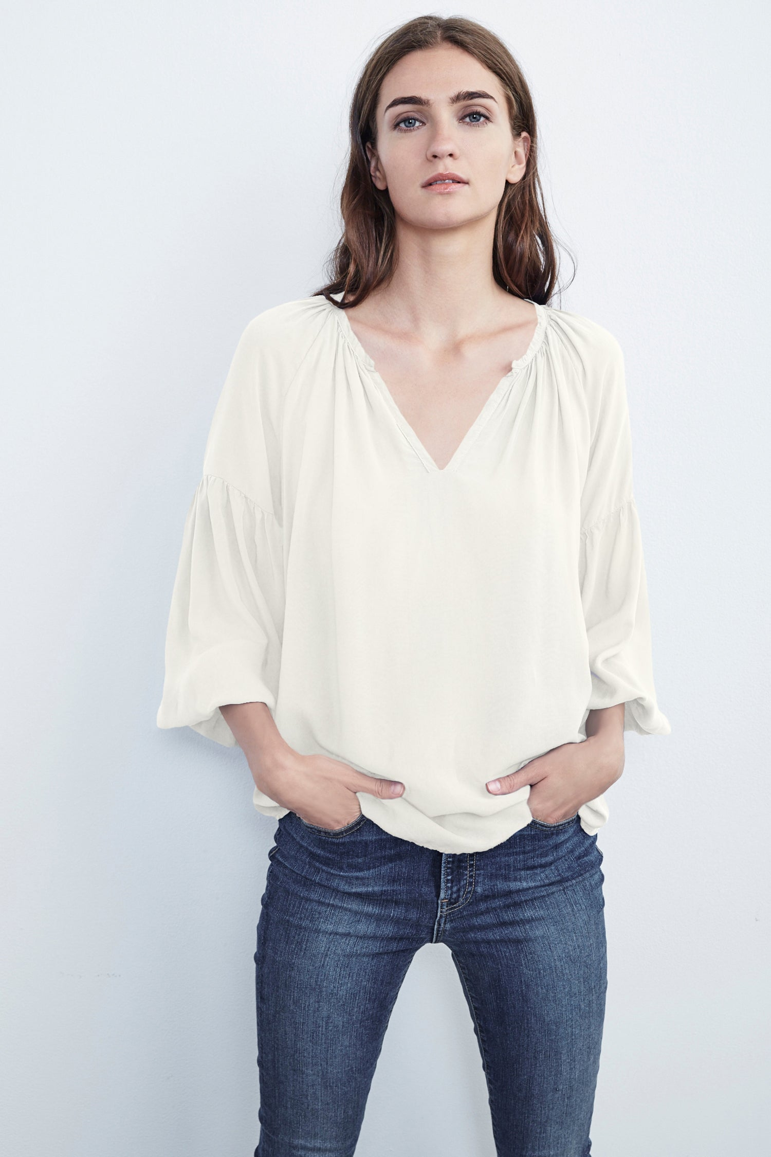 ZION RAYON CHALLIS PEASANT TOP IN MILK