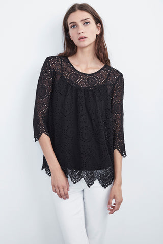 BINX EMBROIDERED CHIFFON TOP IN BLACK