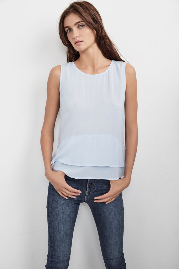 BETSEY CHALLIS RUFFLE SLEEVELESS TOP IN BLUE