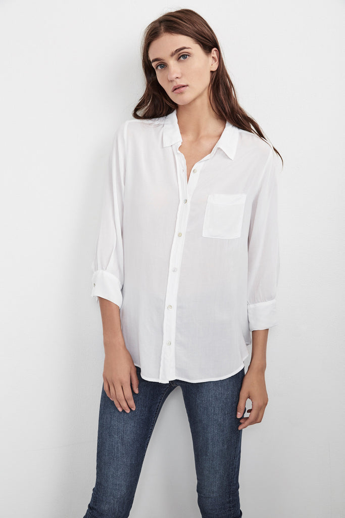 MALINDA CHALLIS 3/4 SLEEVE BUTTON-UP TOP IN WHITE