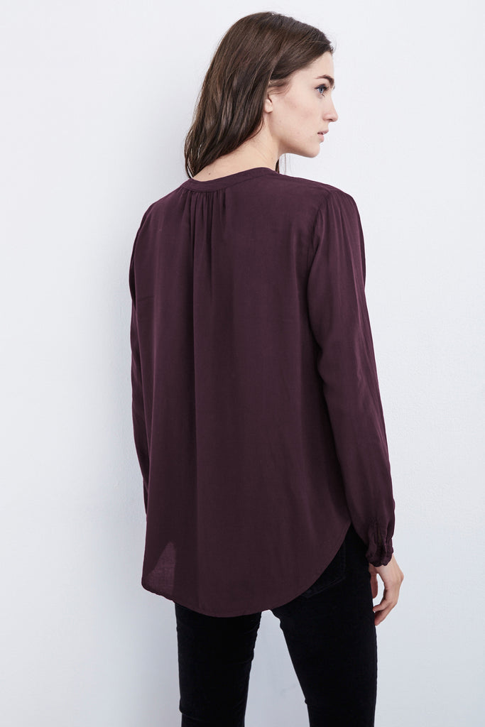 ROSIE HALF-PLACKET CHALLIS BLOUSE IN PLUM