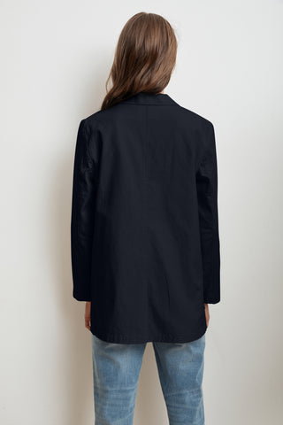 RIVKA COTTON CANVAS BUTTON-UP JACKET IN POSTMAN