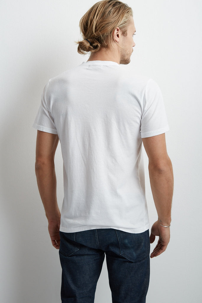 SAMSEN WHISPER CLASSIC V-NECK TEE IN WHITE