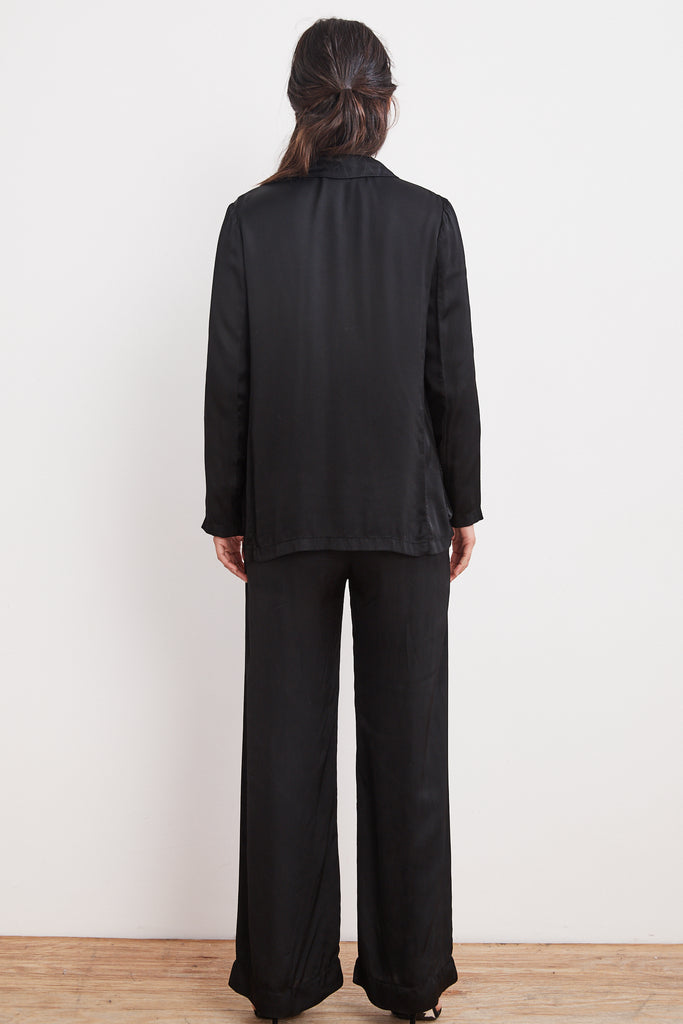 ALVARA SATIN VISCOSE BUTTON UP TOP IN BLACK