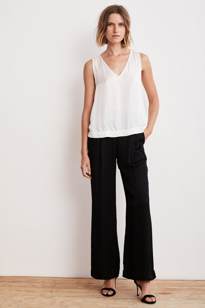 LIVI SATIN VISCOSE WIDE LEG PANT IN BLACK