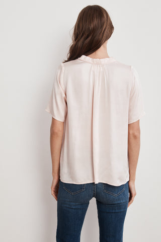 PRUDY SATIN VISCOSE COLLARED SHORT SLEEVE TOP IN BALLET