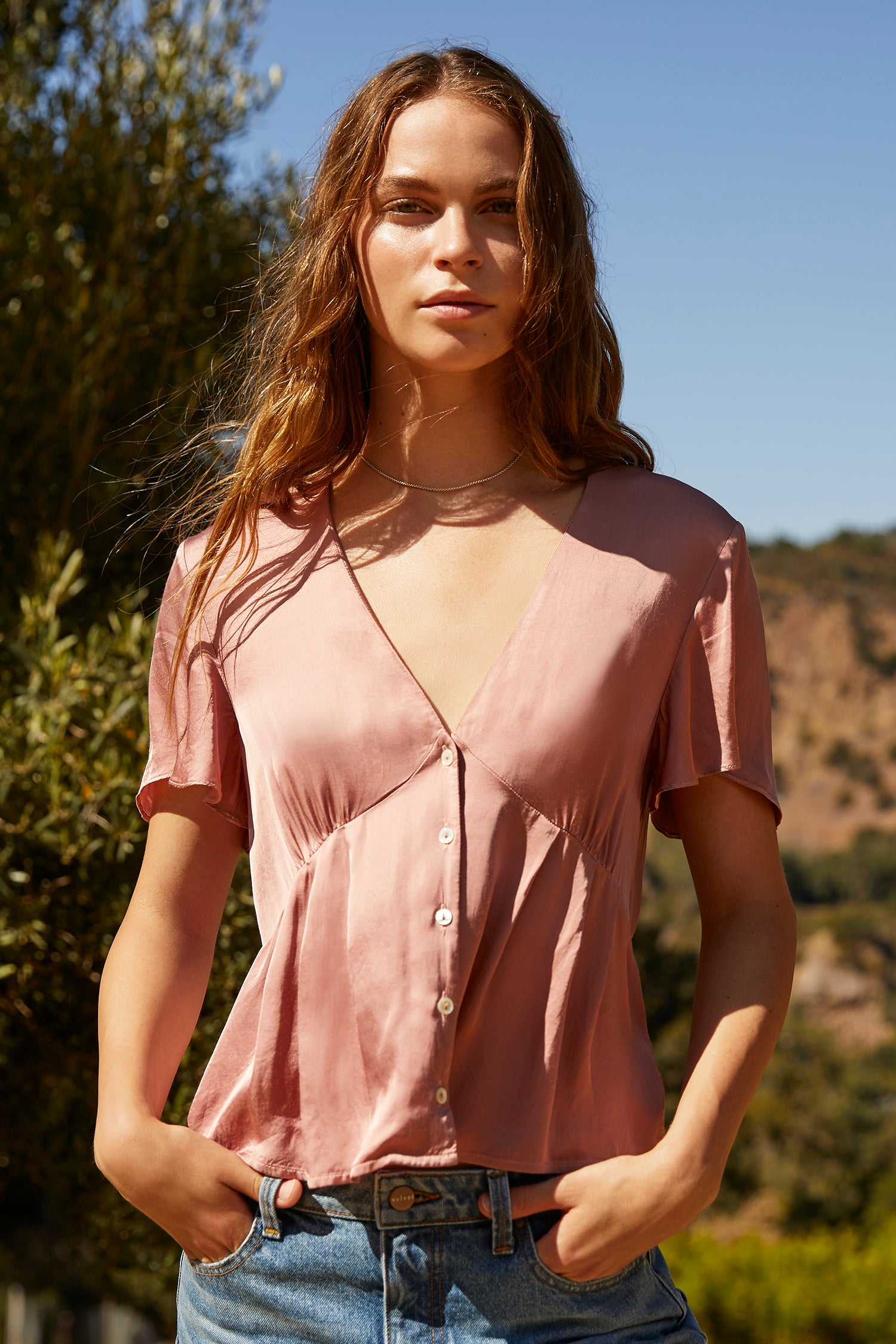 MAISIE SATIN VISCOSE BUTTON-UP BLOUSE IN TULIP