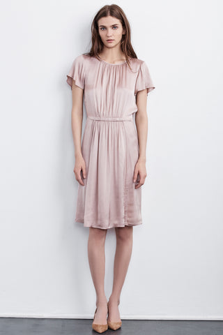 LARA SHORT SLEEVE SATIN VISCOSE DRESS IN BLUSH