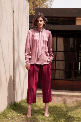 OPHELIA COTTON CORDUROY TROUSERS IN BERRY