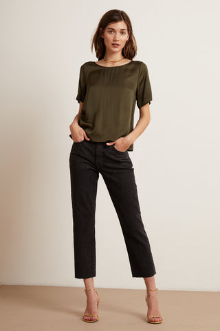 KAROLINA DENIM TROUSERS IN STONE